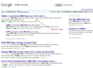 Google, Twitter SEO Tips